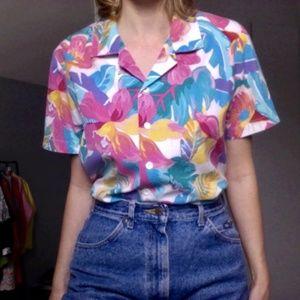 [Vintage] Colorful Floral Print Button Down Shirt